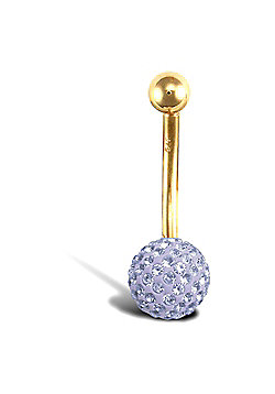 Jewelco London 9ct Yellow Gold Belly Bar with crystal-set end bead - Lilac