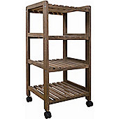 Curtis - Four Tier Storage Shelves / Trolley - Dark Wood Effect
