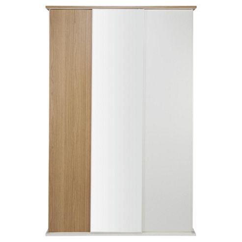 Palma 3 Door Sliding Wardrobe,  Oak/White