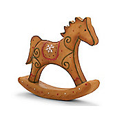 Resin Gingerbread Rocking Horse Christmas Ornament - Design A