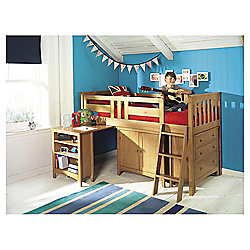 Harvey Sleep Station Right Hand Ladder, Natural Pine/Oak Stain