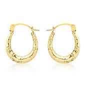9ct Yellow Gold Polished Twist Creole Earrings