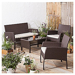 Rattan Garden Lounge Set, Brown, 4 piece
