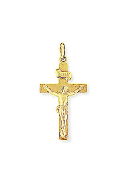 Jewelco London 9ct Yellow Gold - Crucifix with INRI Inscription Charm Pendant -