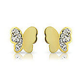 9ct Yellow Gold Butterfly-Shaped Crystal Studs Earring