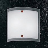 Linea Light Nove 99 Two Light Flush Ceiling/Wall Light in Brushed Nickel - 40cm H x 40cm W x 10cm D