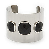 Wide Polished Cuff With Black Acrylic Stones In Silver Plating - Up to 20cm Wrist