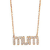 """Gold plated necklace with pave """"Mum"""" pendant"""