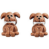 Girl's Brown Puppy Stud Earrings
