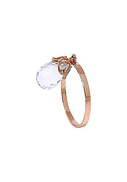 QP Jewellers 3.0ct White Topaz Briolette Crown Ring in 14K Rose Gold