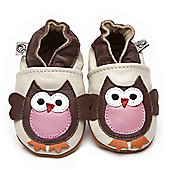 Cherry Kids Soft Leather Baby Shoes Owl - Cream