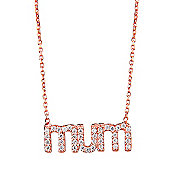 "Rose gold plated necklace with pave ""Mum"" pendant"