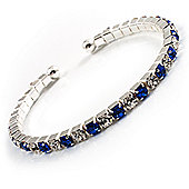 Clear&Blue Crystal Thin Flex Bangle Bracelet (Silver Tone)