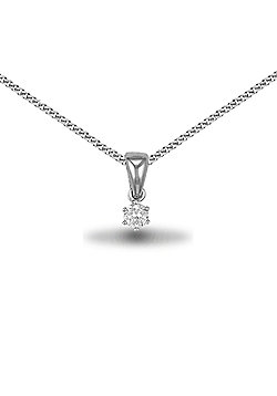 Jewelco London Rhodium Coated Sterling Silver CZ 4mm solitaire Solitaire Pendant - 18 inch Chain
