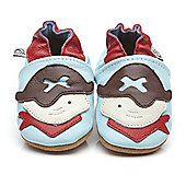 Olea London Soft Leather Baby Shoes Pirate - Light blue