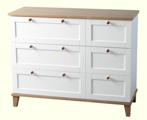 Home Essence Penzance Three Drawer Chest in White and Ash Veneer