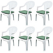Pack of 6 Garden Chair Cushions - Fits Resol Palma / Cool - Green