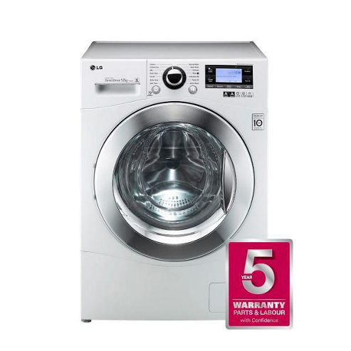LG F1495BDA Washing Machine, 12 Kg Load, 1400 RPM Spin, White, A+++ Energy.
