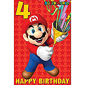 Super Mario Age 4 Birthday Card