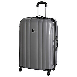 IT Luggage Hard Shell 4-Wheel Suitcase, Silver Large