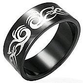 Urban Male Black Stainless Steel Tribal Design Men's 8mm Ring