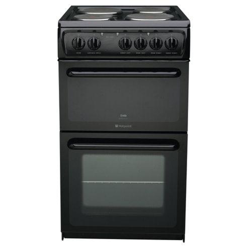 Hotpoint HW170EKS, Black, Electric Cooker,  Single Oven, 50cm