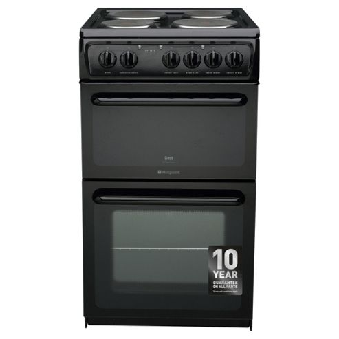 Hotpoint HW170EKS, Freestanding, Electric Cooker, 50cm, Black, Twin Cavity, Single Oven