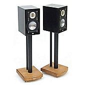 MOSECO 5 Black and Light Oak Speaker Stands