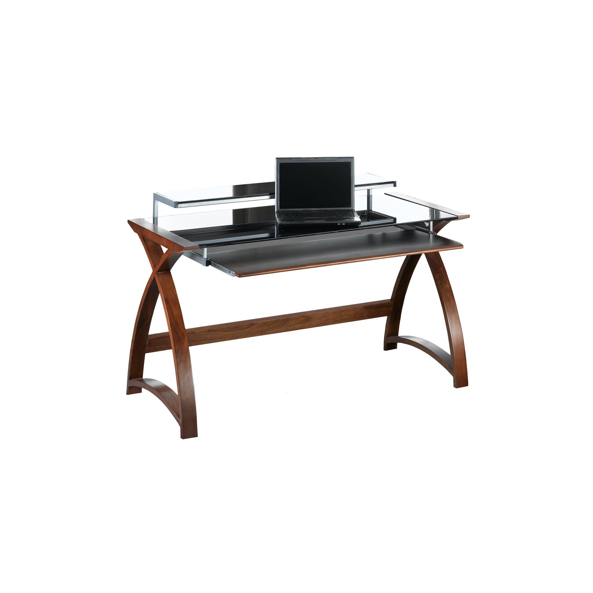 Jual Curve - Curved Walnut and Black Desk at Tesco Direct