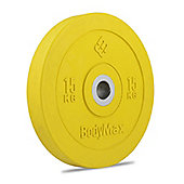 Bodymax Olympic Rubber Bumper Plate - Yellow 15kg