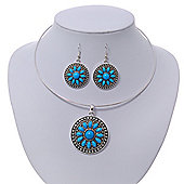 Light Blue Medallion Flex Wire Necklace & Earrings Set In Silver Plating - Adjustable