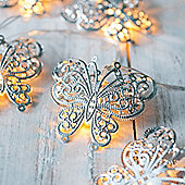 10 LED Silver Butterfly Battery Fairy Lights