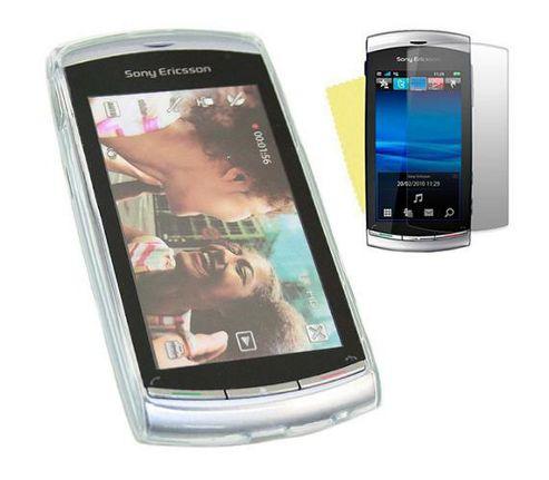 iTALKonline LCD Screen Protector and ProGel Skin Case White - For Sony Ericsson Vivaz