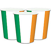 Irish Flag Cups - 266ml Paper Party Cups, Pack of 8