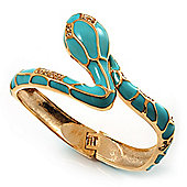 Gold Tone Enamel Crystal Snake Bangle Bracelet (Aqua)