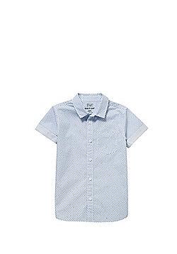 F&F Geometric Print Short Sleeve Shirt - White & Blue