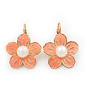 Peach Enamel Faux Pearl 'Daisy' Drop Earrings In Gold Plating - 4cm Diameter