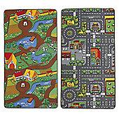Children's Dual Playmat 100x165cm Roadmap/Farmlife Rug