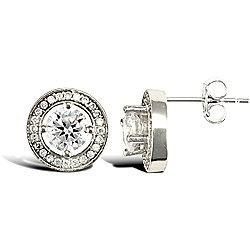 Jewelco London Rhodium Coated Sterling Silver Cubic Zirconia cluster studs Stud Earrings - Ladies