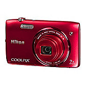 Nikon Coolpix S3500 Digital Camera, Red, 16.2MP, 7x Optical Zoom, 2.7 inch LCD Screen