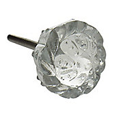 Glass Cupboard Drawer Knob - Floral Design