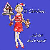 Holy Mackerel Christmas calories Greetings Card