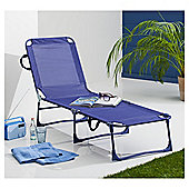 Folding Garden Lounger, Navy