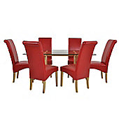 Atlantico Long White Wood Top Dining Table Set with 6 Red Chelsea Chairs