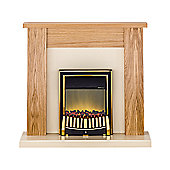 Adam New England Oak & Ivory Electric Fireplace Suite