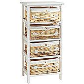 VonHaus 4 Wicker Basket Storage Bathroom Cabinet Drawers - White