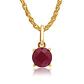 Gemondo Amour Damier 9ct Yellow Gold 1.00ct Claw Set Ruby Pendant on 45cm Chain