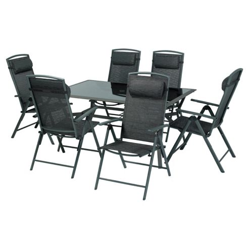 Valencia 156cm Rect Glass Table & 6 Recliner Dining Set - Black
