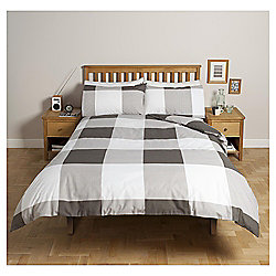 Tesco Basics Oversize Check Single Duvet Set, Black