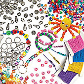 Bead & Jewellery Super Value Pack for Children to Make and Create Bracelets with Elastic and 1650 Beads. Save 23%
